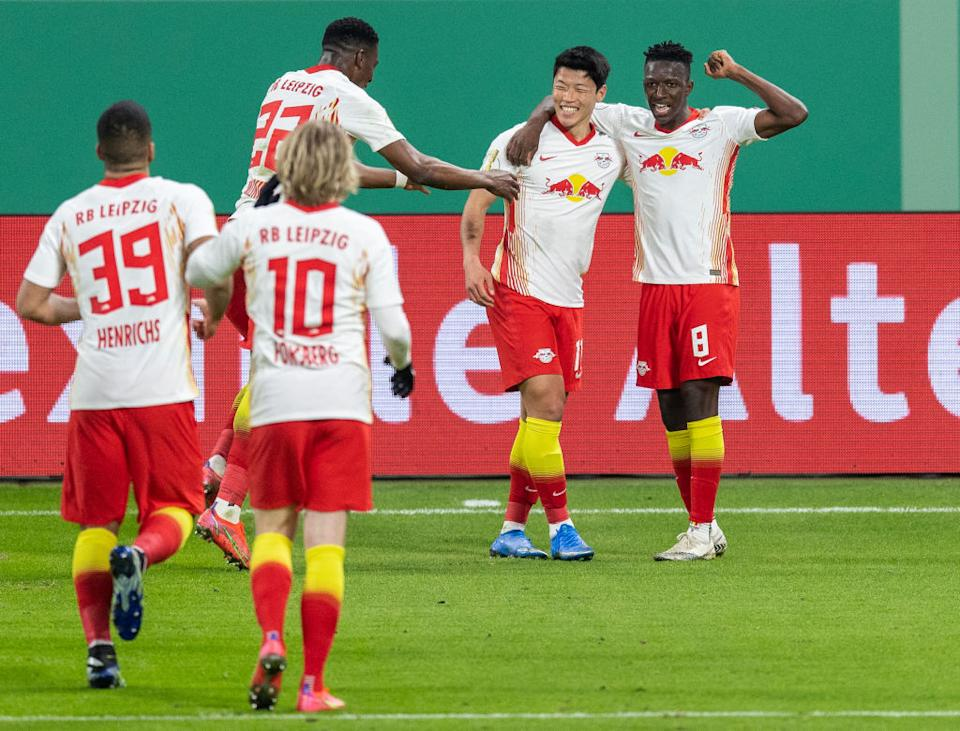 Hee-chan Hwang von RB Leipzig feiert (Photo by Boris Streubel/Getty Images)