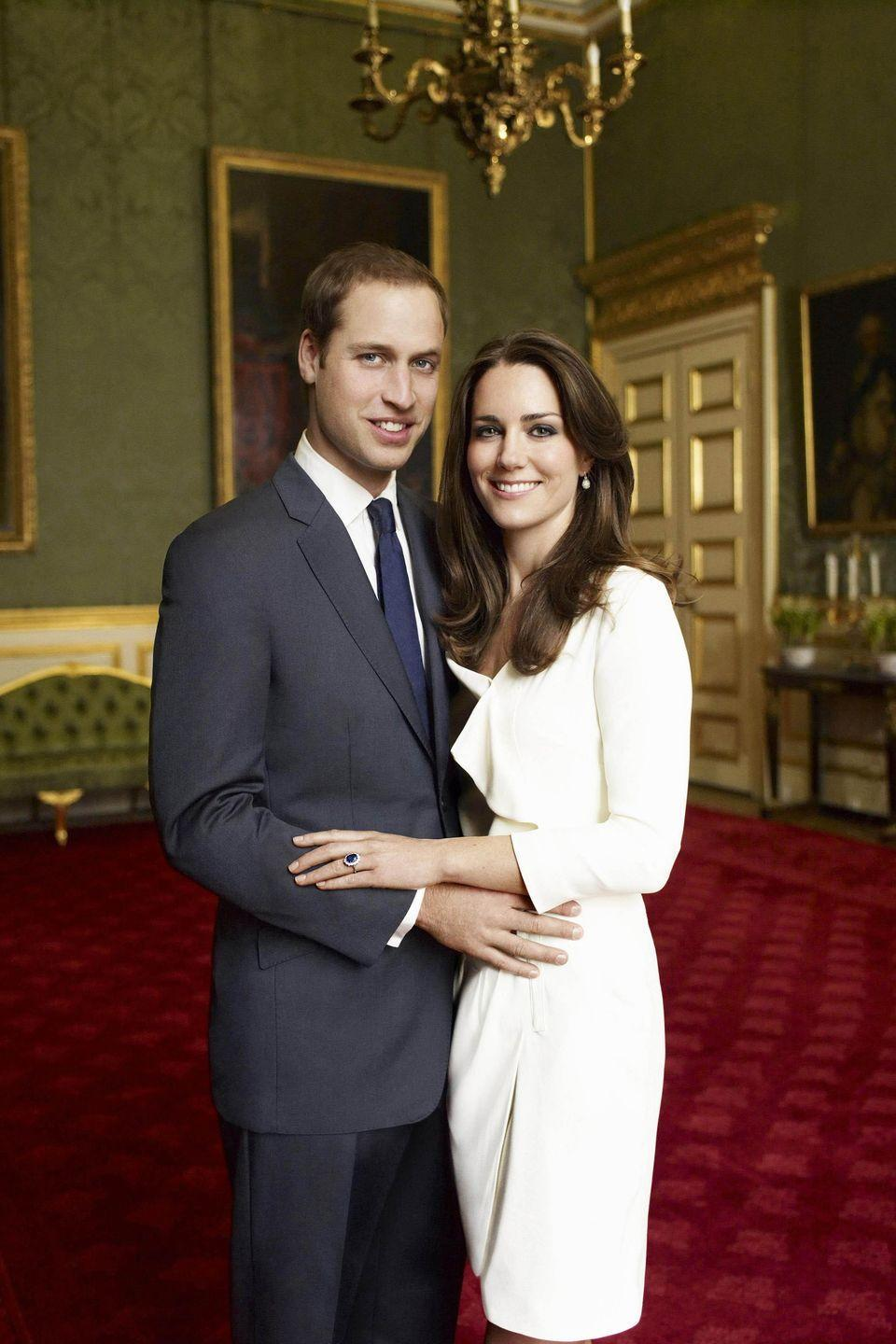 """<p>A month after announcing their engagement in November 2010, Prince William and Kate Middleton released their official engagement portraits, shot by Mario Testino in the historic chamber of <a href=""""http://people.com/royals/prince-harry-meghan-markle-engagement-photos-2/"""" rel=""""nofollow noopener"""" target=""""_blank"""" data-ylk=""""slk:Clarence House"""" class=""""link rapid-noclick-resp"""">Clarence House</a>. The couple wed four months later.</p>"""