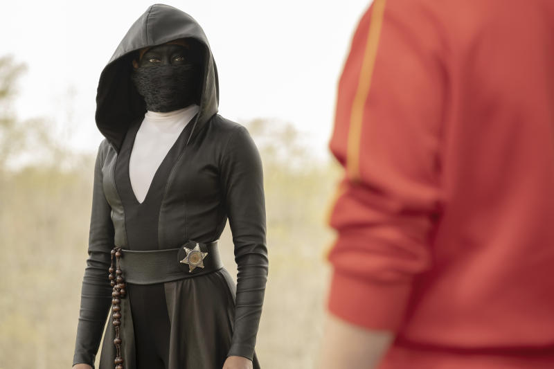 """This image released by HBO shows Regina King in a scene from """"Watchmen,"""" premiering on Oct. 20. (Mark Hill/HBO via AP)"""