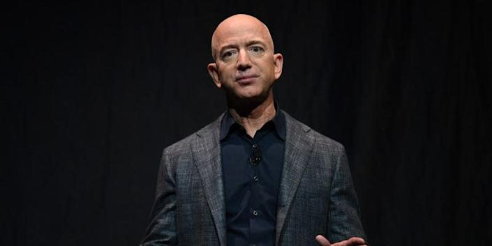 Founder, Chairman, CEO and President of Amazon Jeff Bezos speaks during an event about Blue Origin's space exploration plans in Washington, U.S., May 9, 2019.