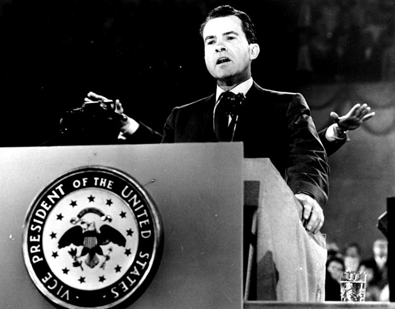 FILE - In this July 28, 1960 black-and-white file photo, Vice President Richard M. Nixon speaks at the Republican National Convention in Chicago, to accept the GOP presidential nomination. Mitt Romney did not mention the war in Afghanistan, where 79,000 US troops are fighting, in his speech accepting the Republican presidential nomination on Thursday. The last time a Republican presidential nominee did not address war was 1952, when Dwight Eisenhower spoke generally about American power and spreading freedom around the world but did not explicitly mention armed conflict. Below are examples of how other Republican nominees have addressed the issue over the years, both in peacetime and in war.  (AP Photo/File)