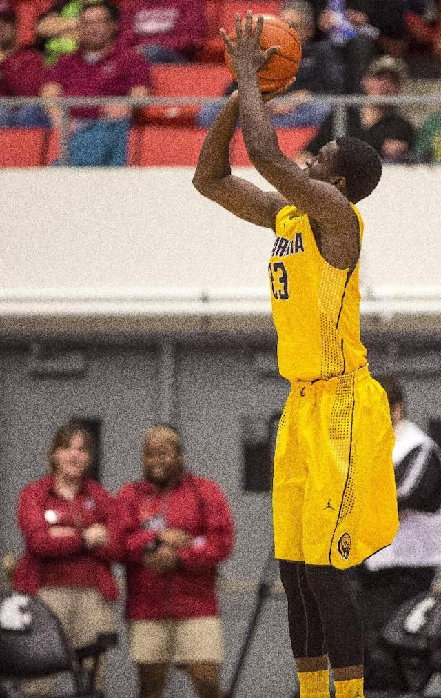 California guard Jabari Bird (23) attempts a 3-point shot against Washington State during the first half of an NCAA college basketball game Wednesday, Feb. 12, 2014, at Beasley Coliseum in Pullman, Wash. (AP Photo/Dean Hare)