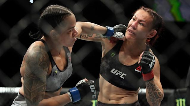 NGLEWOOD, Calif. (AP) — Amanda Nunes pulled off one of the most surprising wins in mixed martial arts history when she left the world's most feared female fighter face-down on the canvas.