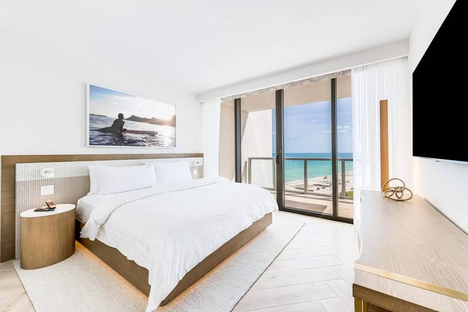 A bedroom at the newly renovated W South Beach.
