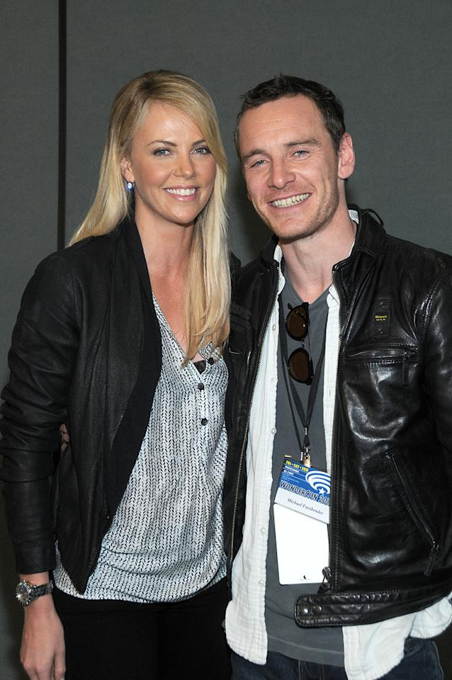 "Charlize Theron and Michael Fassbender attend the ""Prometheus""  conference at WonderCon 2012 - Day 1 at Anaheim Convention Center on  March 17, 2012 in Anaheim, California."