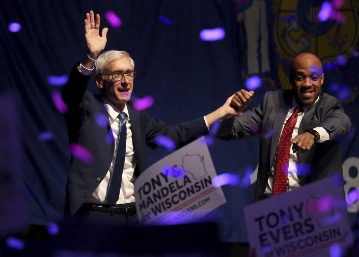 Wisconsin Democratic gubernatorial candidate Tony Evers, left, and lieutenant governor candidate Mandela Barnes appear at a post-election party at the Orpheum Theater in Madison, Wis., Wednesday. (Photo: John Hart/Wisconsin State Journal via AP)