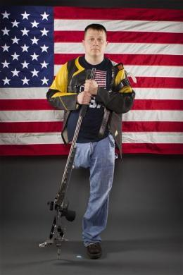 Paralympic shooter Josh Olson poses for a portrait during the 2012 U.S. Olympic Team Media Summit in Dallas, May 15, 2012.