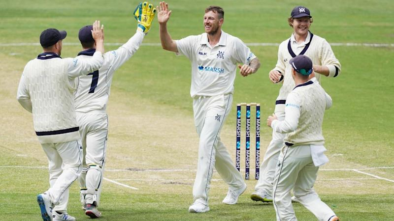 James Pattinson celebrates the wicket of Sean Abbott on day two of their Sheffield Shield match