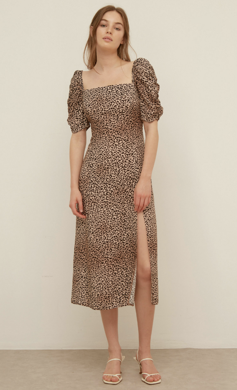 Leopard Print Midi Tea Dress (Nobody's Child/ M&S)
