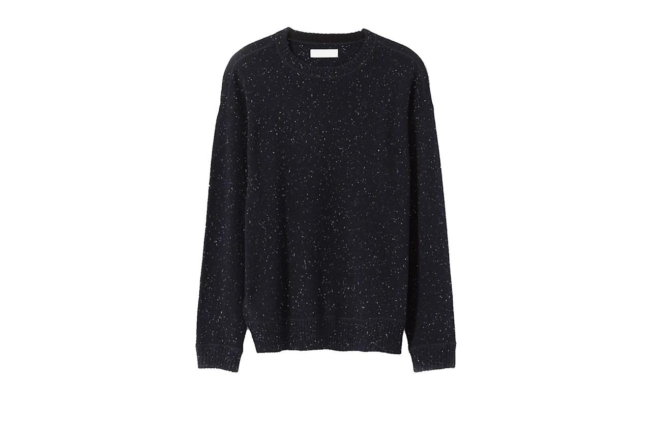 """$140, Everlane. <a href=""""https://www.everlane.com/products/mens-heavyweight-cashmere-crew-darknavydonegal?collection=mens-100-dollar-cashmere"""">Get it now!</a>"""