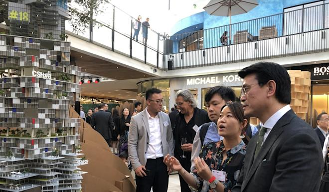 Edward Yau at the opening ceremony of the exhibition 'Island Peninsula' staged by the Hong Kong Institute of Architects in Los Angeles. Photo: Handout