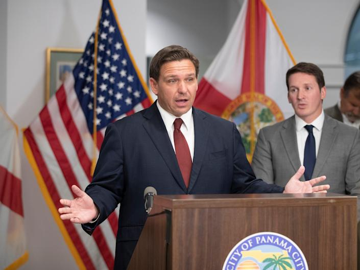 Florida Governor Ron DeSantis makes his point that he would 'stand in the way' of any federal COVID-19 restrictions that would hurt people in his state. DeSantis visited Panama City to announce the release of new money for hurricane relief.
