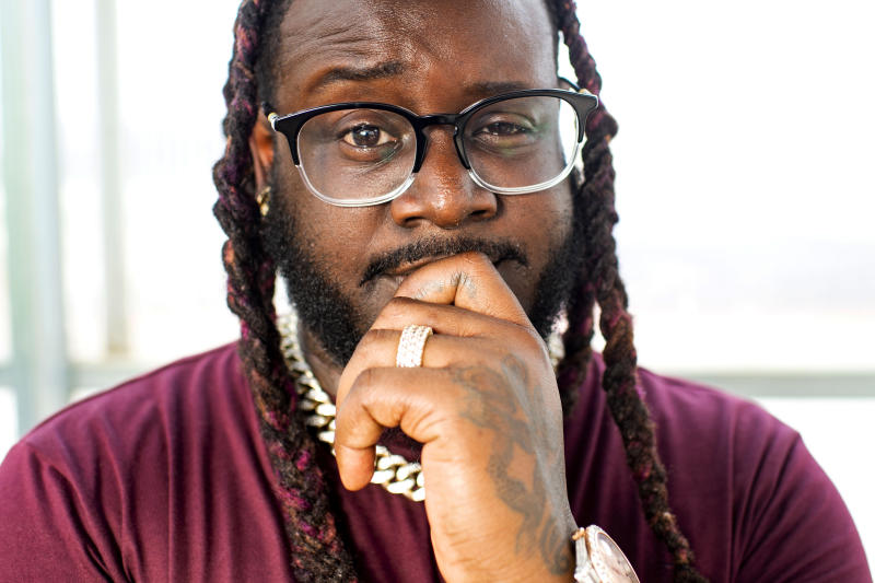 "This June 5, 2019 photo shows rapper T-Pain, host of ""T-Pain's School of Business,"" posing for a portrait at Gotham Greens in the Brooklyn borough of New York. The program explores niche, innovative businesses founded by millennials. Many are centered on new technology and forward-thinking concepts. (Photo by Scott Gries/Invision/AP)"