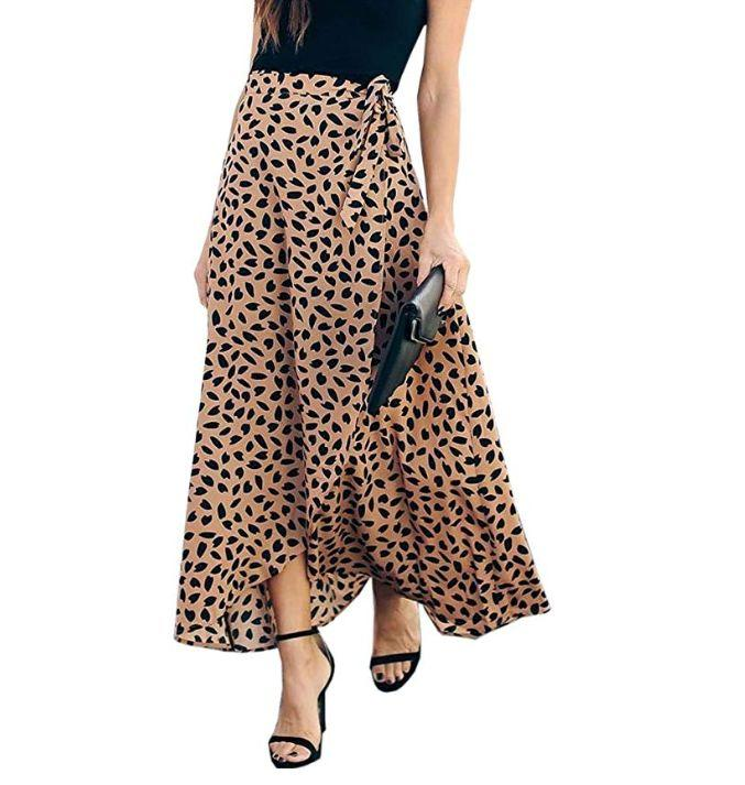 """<strong><a href=""""https://www.amazon.com/Womens-Leopard-Chiffon-Pleated-Waisted/dp/B07Q28P9QZ/ref?tag=thehuffingtop-20&amp;th=1&amp;psc=1"""" target=""""_blank"""" rel=""""noopener noreferrer"""">Find it for $21 on Amazon</a></strong>"""