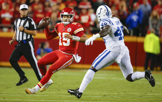 The Colts showed the best way to beat the Chiefs is to keep the ball out of Patrick Mahomes' hands and keep pressure. (Getty)