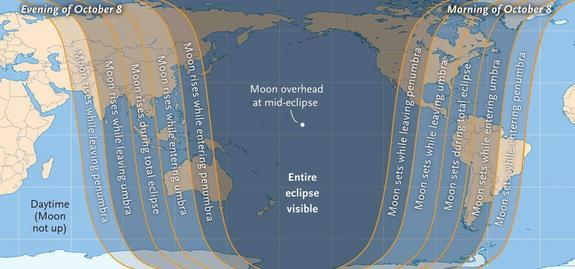 The map shows the visibility regions for the Oct. 8, 2014 total lunar eclipse, which is the second of four consecutive total eclipses of the moon between 2014 and 2015. Sky & Telescope Magazine released this viewing map.