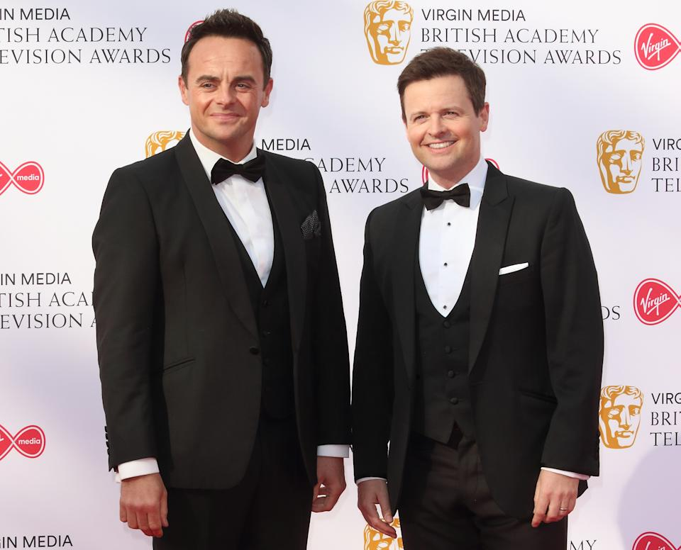 Ant and Dec are seen on the red carpet during the Virgin Media BAFTA Television Awards 2019 at The Royal Festival Hall in London. (Photo by Keith Mayhew/SOPA Images/LightRocket via Getty Images)