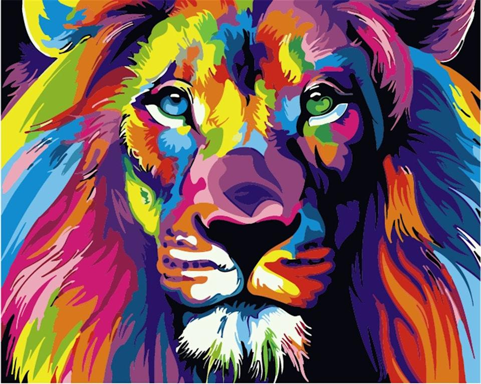 """<br><br><strong>Komking</strong> Paint by Number Kit, Colorful Lion 16x20inch, $, available at <a href=""""https://amzn.to/3bGoHeg"""" rel=""""nofollow noopener"""" target=""""_blank"""" data-ylk=""""slk:Amazon"""" class=""""link rapid-noclick-resp"""">Amazon</a>"""