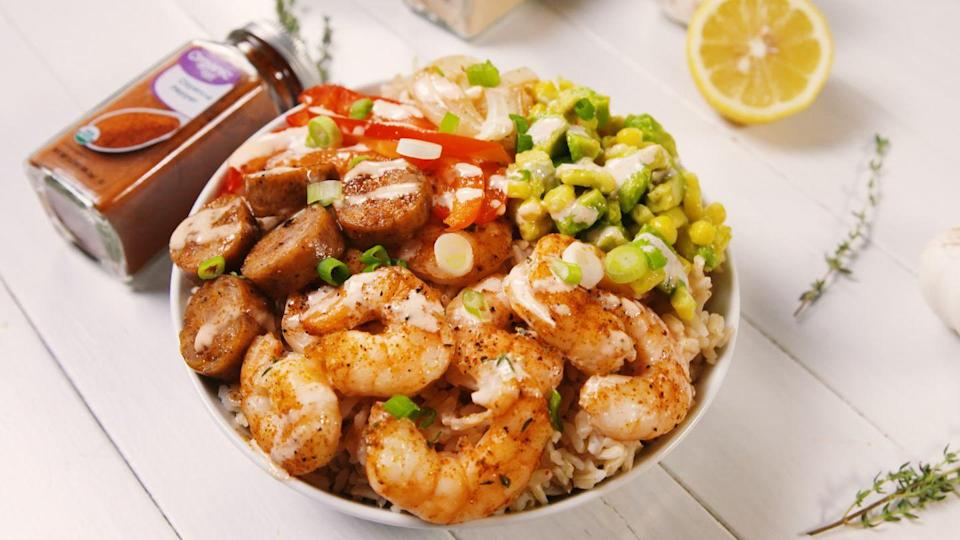 """<p>You'll want to put the Cajun seasoning on EVERYTHING.</p><p>Get the recipe from <a href=""""https://www.delish.com/cooking/a22115862/cajun-shrimp-bowl-recipe/"""" rel=""""nofollow noopener"""" target=""""_blank"""" data-ylk=""""slk:Delish."""" class=""""link rapid-noclick-resp"""">Delish.</a></p>"""