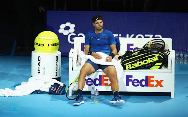 Rafael Nadal has been forced to withdraw from the World Tour Finals with a knee injury - Getty Images Europe