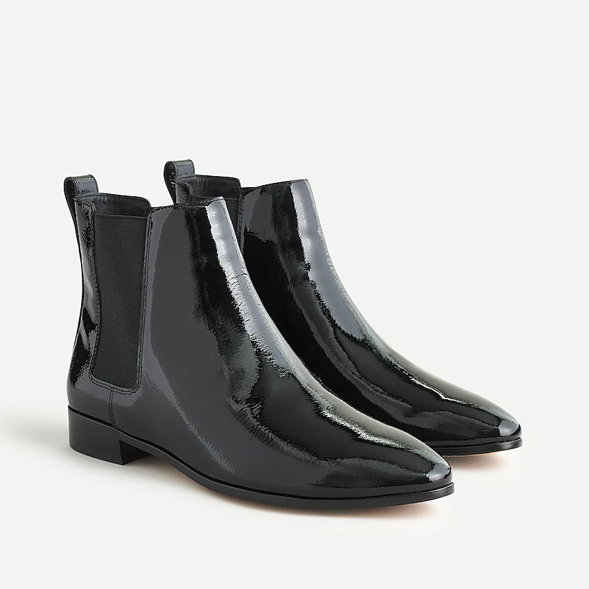 """<h3>Chelsea</h3><br>Choose a Chelsea boot that you're obsessed with because you'll find yourself wearing this ultra-classic option eight days a week.<br><br><strong>J.Crew</strong> Chelsea Boots, $, available at <a href=""""https://go.skimresources.com/?id=30283X879131&url=https%3A%2F%2Fwww.jcrew.com%2Fp%2Fwomens_category%2Fshoes%2Fboots%2Fchelsea-boots-in-patent-leather%2FAQ660"""" rel=""""nofollow noopener"""" target=""""_blank"""" data-ylk=""""slk:J.Crew"""" class=""""link rapid-noclick-resp"""">J.Crew</a>"""
