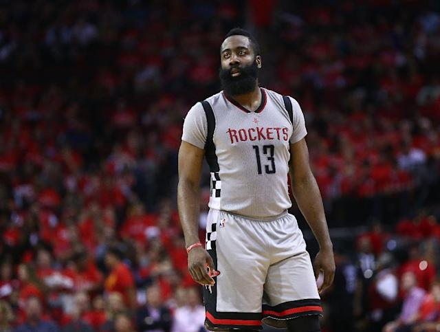 James Harden of the Houston Rockets looks on against the San Antonio Spurs during Game Six of the NBA Western Conference Semi-Finals at Toyota Center on May 11, 2017 in Houston, Texas (AFP Photo/RONALD MARTINEZ)