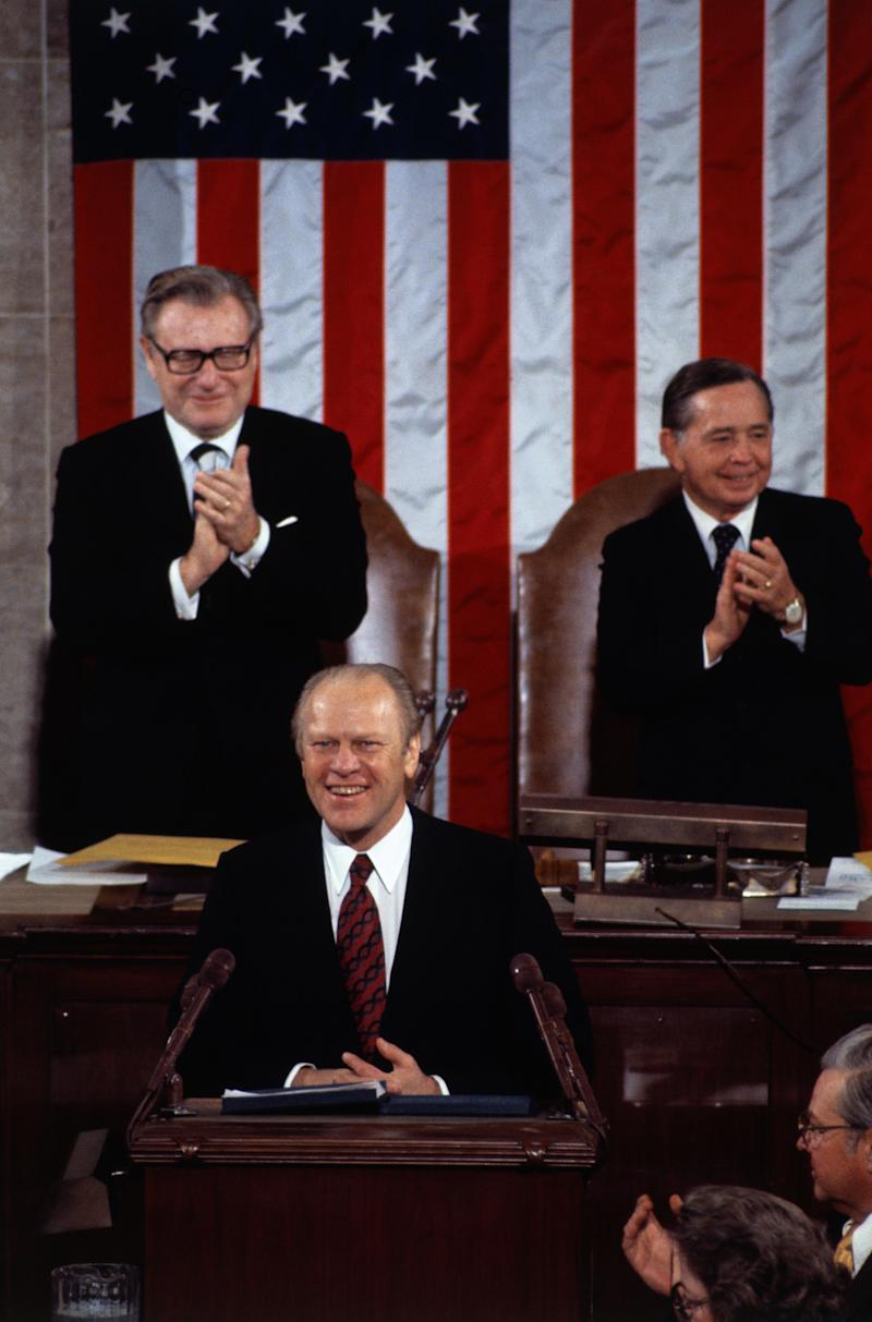 "President Gerald Ford said the state of the union was ""not good"" in his 1975 State of the Union address. (Bettmann via Getty Images)"