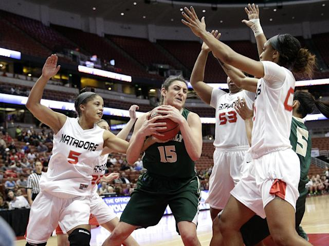 Cal Poly's Taryn Garza(15) is defended by Cal State Northridge's Ashlee Guay(5), Randi Friess(22), Bernadette Fong(53) and Breeyon Alexander(00) during the first half of an NCAA college basketball game in the final of the Big West Conference tournament, on Saturday, March 15, 2014, in Anaheim, Calif. (AP Photo/Jae C. Hong)