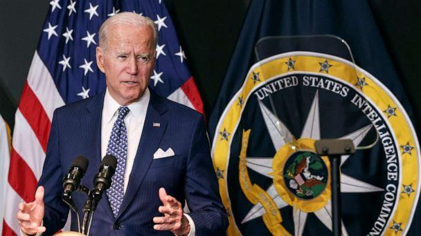 PHOTO: President Joe Biden delivers remarks to members of 'the intelligence community workforce and its leadership' as he visits the Office of the Director of National Intelligence in nearby McLean, Virginia outside Washington, July 27, 2021. (Evelyn Hockstein/Reuters)
