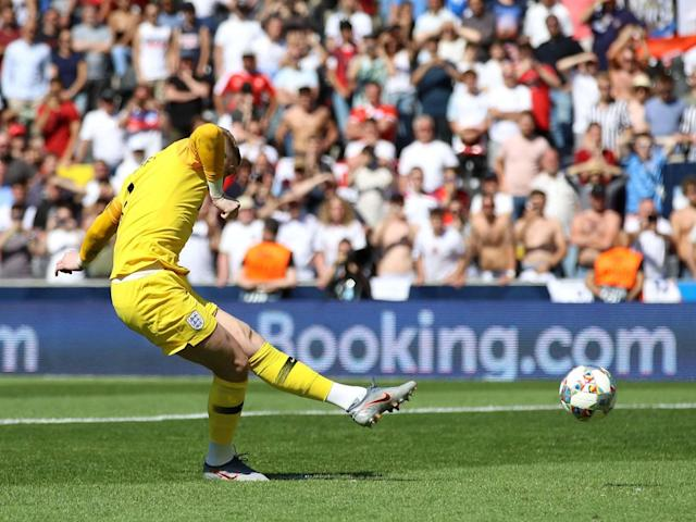"""Jordan Pickford has admitted he was nervous as he stepped up to score a penalty for the first time in a competitive game as England beat Switzerland in a shootout to finish third in the Nations League.Three days on from losing their semi-final to the Netherlands due to two defensive gifts and a narrow offside call, the Three Lions returned to a far quieter Estadio D Afonso Henriques for Sunday's battle for bronze.Callum Wilson thought he had grabbed a late winner ruled until the video assistant referee intervened in Guimaraes, where England dominated throughout only for the match to end 0-0 after 120 minutes.The match went to spot-kicks and Pickford came into his own in the shootout, denying Josip Drmic in sudden death after scoring his own spot-kick as the Three Lions won 6-5 on penalties.When asked why he took a spot-kick, Pickford said: """"We practice them when there's a major competition or the Nations League, we practice them consistently.""""I picked my spot and I always seem to be able to get a goal, but I've never taken one in a real game so I was a bit nervous.""""I think we took (off) Harry Kane and some of the other lads who take penalties so I wasn't sure where I was in the pecking order, but it's what you practice for, you practice all the time to make sure you make it easier on the day.""""When asked about his penalty technique, Pickford replied: """"It's all about routine I would say, if you watch the top penalty takers. Harry Kane he's got his own routine, so you've got to create your own routine to make sure everything's done to perfection.""""The Everton goalkeeper believes the result just days after the disappointment of the semi-final defeat shows the character of this Three Lions squad.""""It was a very tough game and I think our character to get through 120 minutes on Thursday and to have to go through another tough game today, 120 minutes and penalties,"""" he added,""""We showed character and belief again and sometimes it's hard to get up for a game like this but it j"""