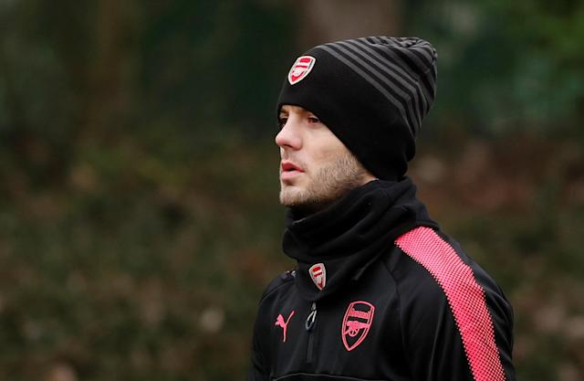 Soccer Football - Europa League - Arsenal Training - Arsenal Training Centre, St Albans, Britain - February 14, 2018 Arsenal's Jack Wilshere during training Action Images via Reuters/Peter Cziborra