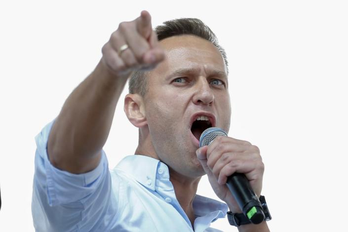 """<div class=""""inline-image__caption""""><p>Russian opposition leader Alexei Navalny addresses demonstrators during a rally to support opposition and independent candidates in Moscow, July 20, 2019. </p></div> <div class=""""inline-image__credit"""">MAXIM ZMEYEV/AFP via Getty Images</div>"""