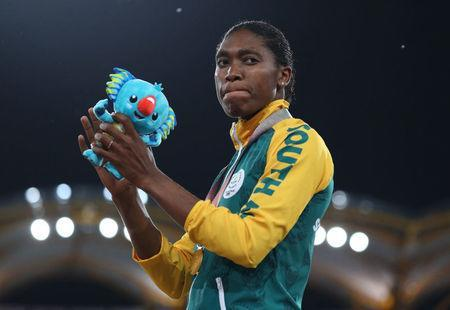 Athletics - Gold Coast 2018 Commonwealth Games - Women's 800m - Medal Ceremony - Carrara Stadium - Gold Coast, Australia - April 13, 2018. Gold medalist Caster Semenya of South Africa on the podium. REUTERS/Athit Perawongmetha