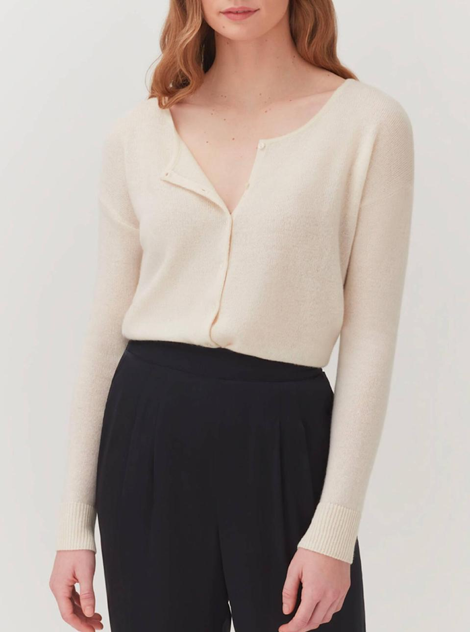 """$195, Cuyana. <a href=""""https://www.cuyana.com/clothing/sweaters-and-capes/single-origin-cashmere-cardigan/20032019.html"""" rel=""""nofollow noopener"""" target=""""_blank"""" data-ylk=""""slk:Get it now!"""" class=""""link rapid-noclick-resp"""">Get it now!</a>"""