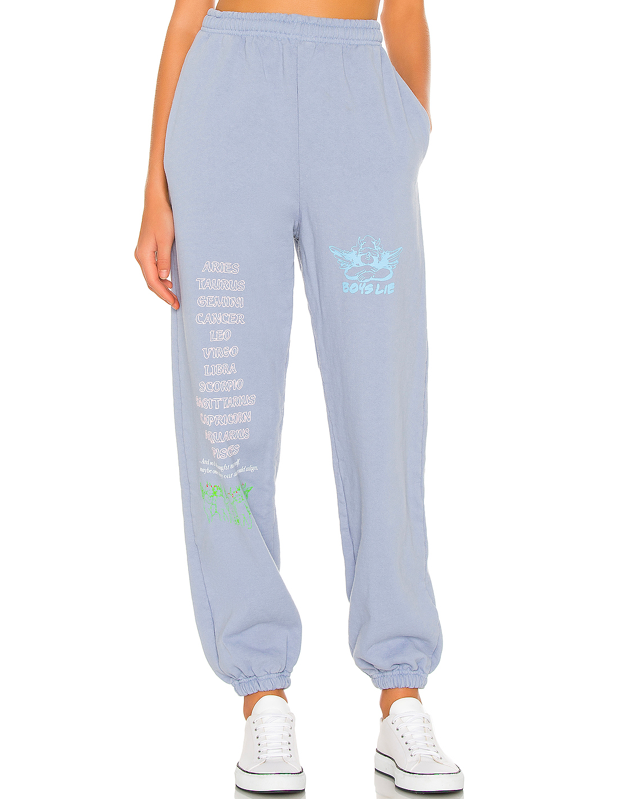 """The aspiring astrologist who also loves a good catnap needs these periwinkle sweats in her life STAT. $140, Revolve. <a href=""""https://www.revolve.com/boys-lie-word-vomit-sweatpants/dp/BOYR-WP5/"""" rel=""""nofollow noopener"""" target=""""_blank"""" data-ylk=""""slk:Get it now!"""" class=""""link rapid-noclick-resp"""">Get it now!</a>"""