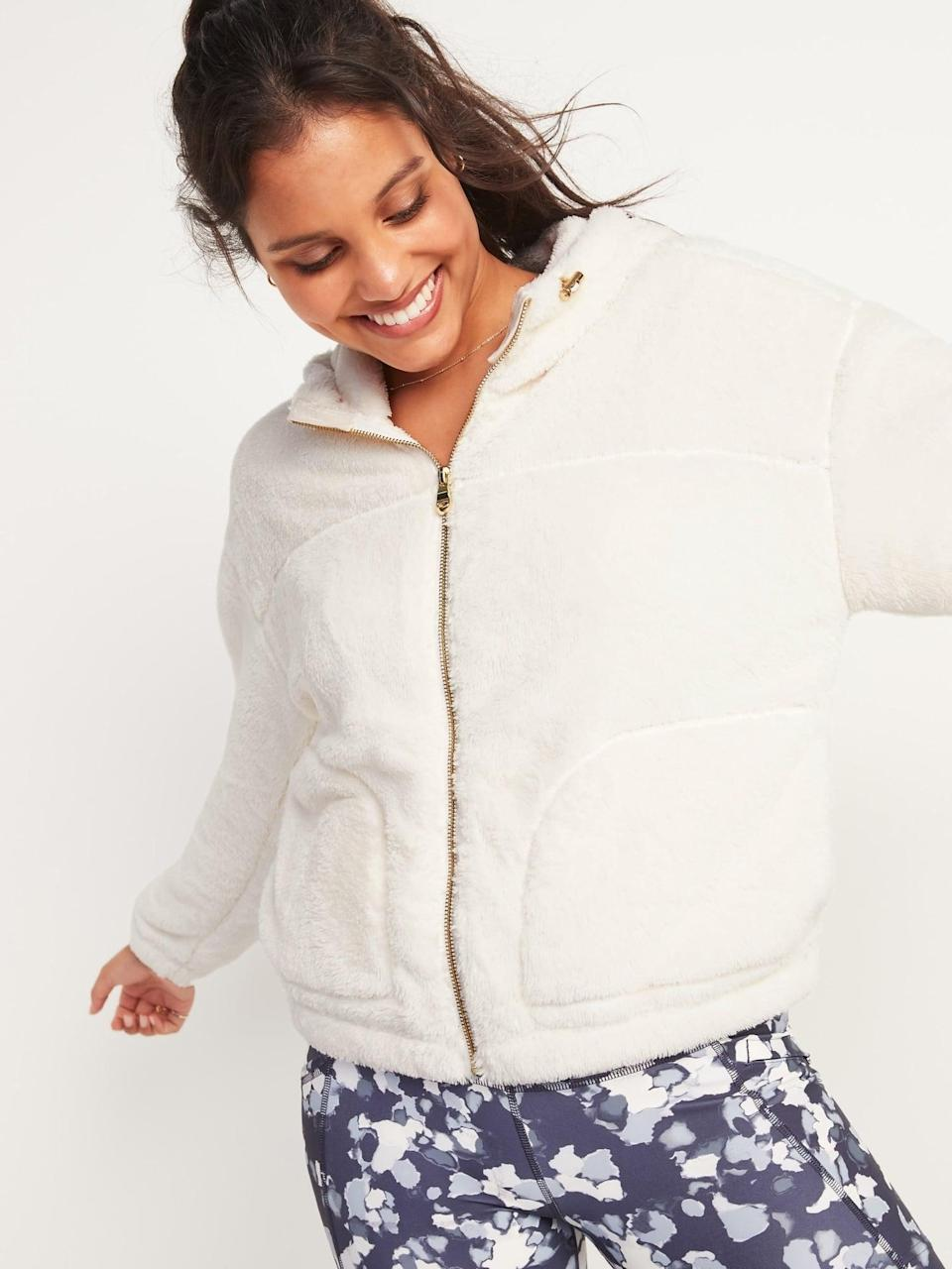 <p>It doesn't get any comfier than this <span>Loose Cozy Sherpa Crop Zip Hoodie</span> ($50).</p>