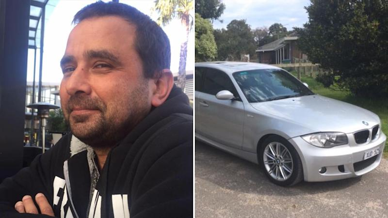Michael Mammone (left) was found dead in a carpark in Melbourne's southeast. Investigators are looking for his silver BMW (right).