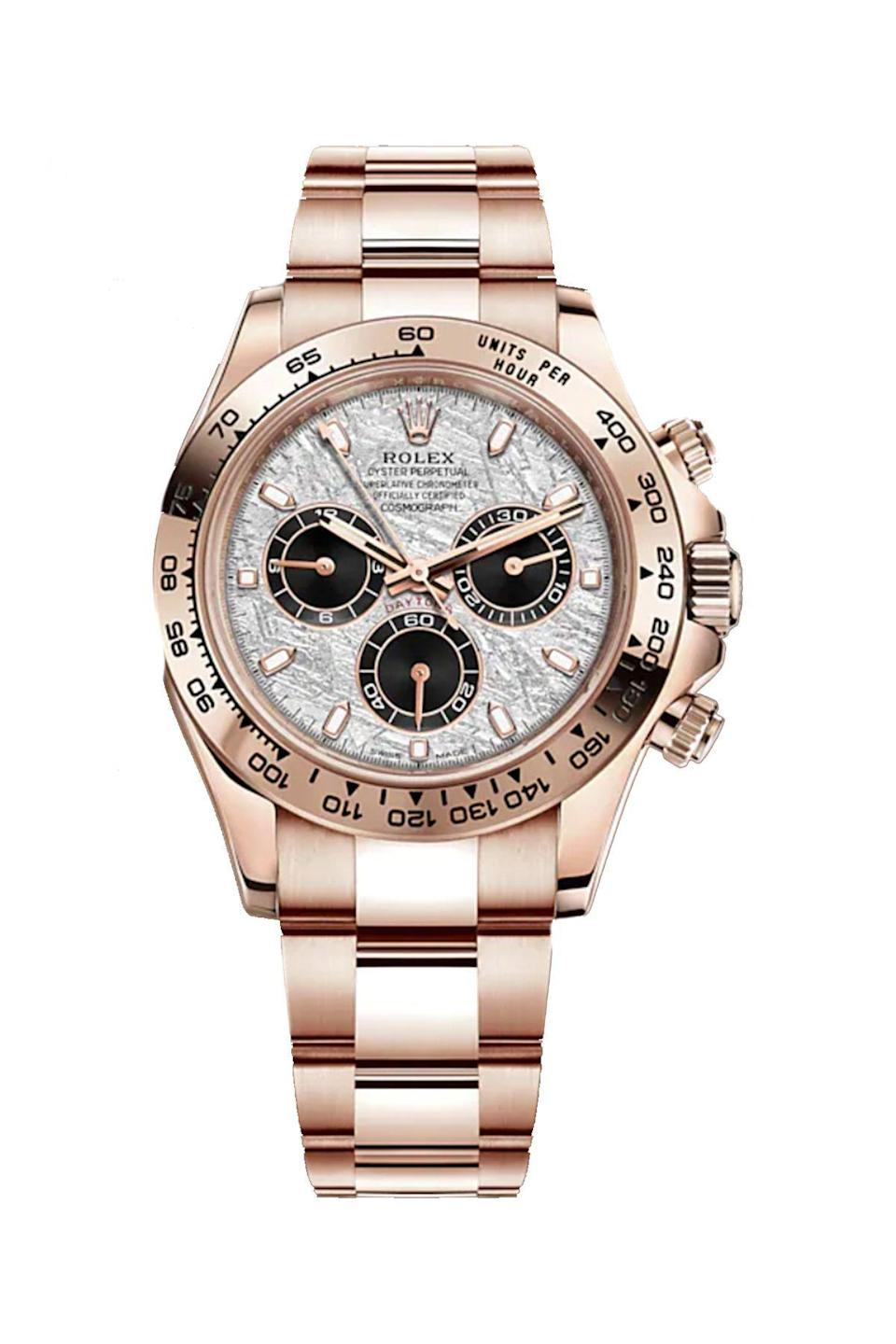 """<p><strong>Rolex</strong></p><p>rolex.com</p><p><strong>$43700.00</strong></p><p><a href=""""https://www.rolex.com/watches/cosmograph-daytona/m116505-0014.html"""" rel=""""nofollow noopener"""" target=""""_blank"""" data-ylk=""""slk:Shop Now"""" class=""""link rapid-noclick-resp"""">Shop Now</a></p><p>If you want to pull gazes, wearing this rose gold stunner will surely accomplish the task. </p>"""