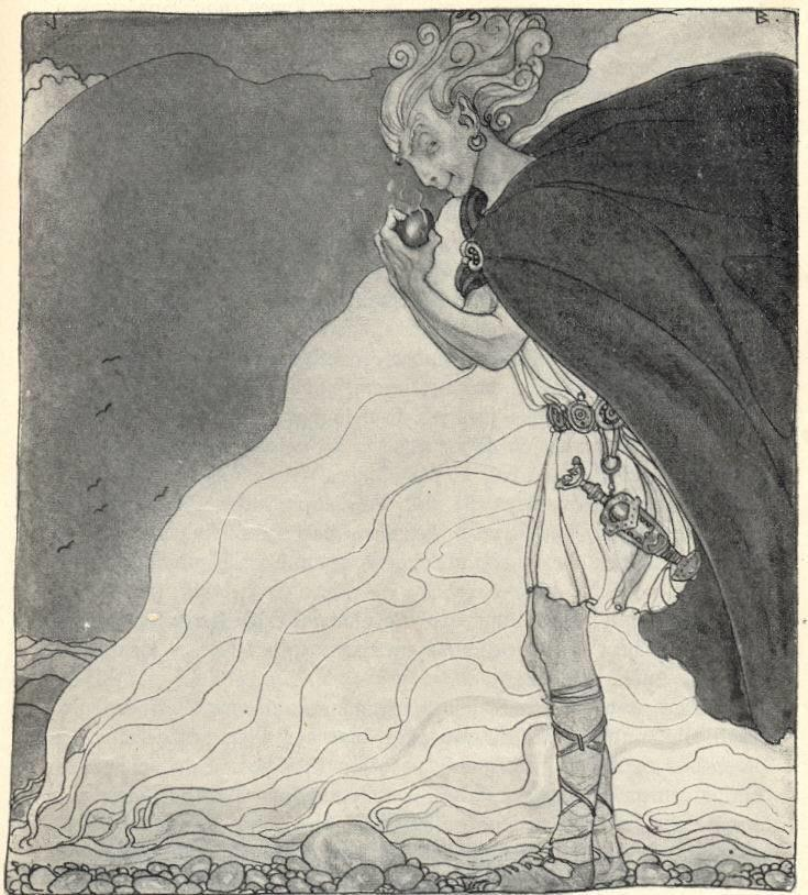 Old illustration of Loki with a large cape, holding food, and looking mischievous