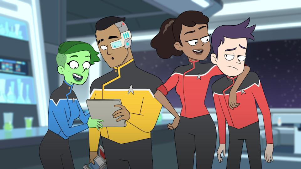 No'l Wells as Ensign Tendi; Eugene Cordero as Ensign Rutherford; Tawny Newsome as Ensign Mariner; Jack Quaid as Ensign Boimler on 'Star Trek: Lower Deck' (Photo: CBS/CBS Interactive)