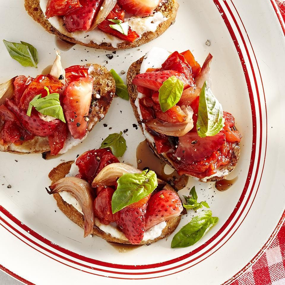 <p>The secret ingredients that bring out the natural sweetness in this appetizer are fresh strawberries and roasted tomatoes. Use a whole grain baguette for this sweet and savory appetizer.</p>