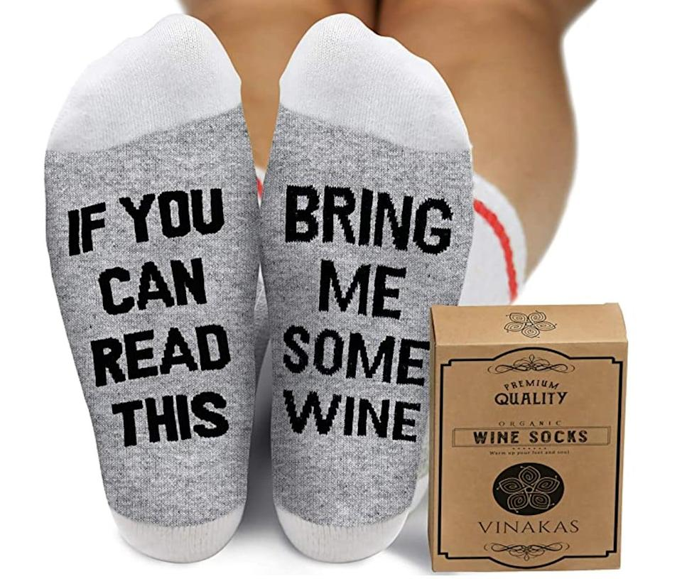 <p>You can get a beer version of these <span>Comfort Cotton Wine Socks</span> ($10) as well.</p>