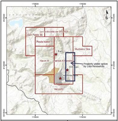 Property under option by Lida Resources (CNW Group/Lida Resources Inc)