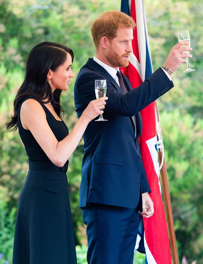 """<p>In order to do so, they have to <a href=""""https://www.countryliving.com/uk/create/food-and-drink/news/a3272/royal-family-dining-etiquette-rule/"""" rel=""""nofollow noopener"""" target=""""_blank"""" data-ylk=""""slk:point"""" class=""""link rapid-noclick-resp"""">point</a> the handles of their forks and knives at the bottom right of the plate instead of crossing them. That's """"yeah, I'm done here"""" in Royal. </p>"""