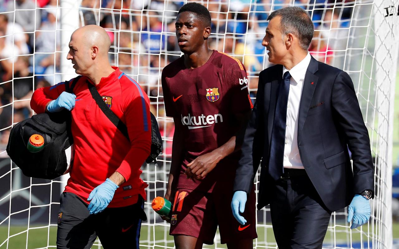 Ousmane Dembele has traveled to Finland to undergo surgery to repair a ruptured left thigh tendon. Barcelona says the newly signed forward will undergo the procedure with a specialist on Tuesday. Dembele got injured Sunday during Barcelona's 2-1 win at Getafe in the Spanish league. The club says the 20-year-old Frenchman is expected to be sidelined for three to four months. Barcelona signed Dembele from Borussia Dortmund in a deal that could reach nearly €150 million euros, the biggest ever in the history of the Catalan club. The best young players in world football Dembele replaced Neymar after the Brazil forward moved to Paris Saint-Germain in a world-record transfer worth more than 220 million euros ($262 million). Dembele was making only his third appearance with Barcelona, which leads the Spanish league after four matches.