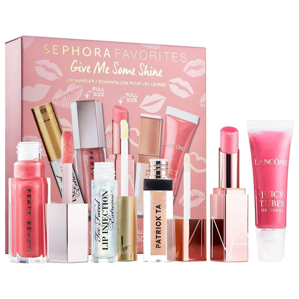 """<p>This popular <span>Sephora Favorites Give Me Some Shine Balm and Gloss Lip Set</span> ($29) packs five bestselling balms and glosses in <a href=""""https://www.popsugar.com/beauty/best-sephora-favorites-sets-47425767"""" class=""""link rapid-noclick-resp"""" rel=""""nofollow noopener"""" target=""""_blank"""" data-ylk=""""slk:one new set"""">one new set</a> to leave no pocket or purse empty.</p>"""