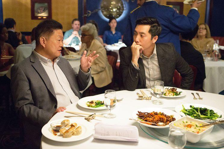 L to R: Clem Cheung and Kelvin Yu play the lightly fictionalized versions of Yang's father and Yang in the 'Parents' episode of 'Master of None' (Credit: Netflix)