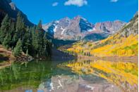 "<p><a href=""https://www.tripadvisor.com/Attraction_Review-g29141-d2292499-Reviews-Maroon_Bells-Aspen_Colorado.html"" rel=""nofollow noopener"" target=""_blank"" data-ylk=""slk:Maroon Bells"" class=""link rapid-noclick-resp"">Maroon Bells</a> is the fourth largest wilderness area in the Centennial State. The sunshine-yellow Aspen groves and reflecting lake make it one of the most photographed locations in Colorado. </p>"