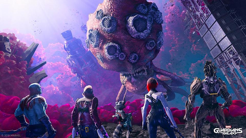 Marvel's Guardians of the Galaxy stand facing a huge planet