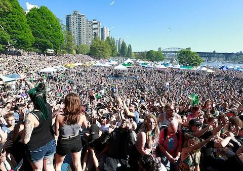 A pro-cannabis event on Sunset Beach, Vancouver, last year - Credit: Getty